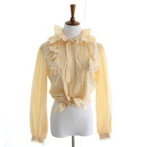 80s Vtg Victorian Blouse Ruffle Tie neck Small XS